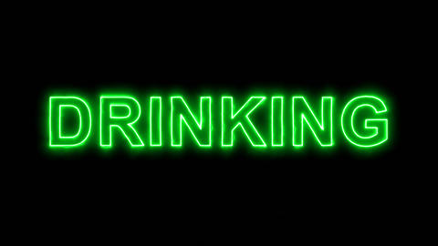 Neon flickering green text DRINKING in the haze. Alpha channel Premultiplied - Animation