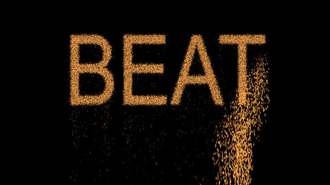 text BEAT appears from the sand, then crumbles. Alpha channel Premultiplied - Animation