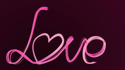 Calligraphy drawing love word by hand. Animation... Stock Video Footage