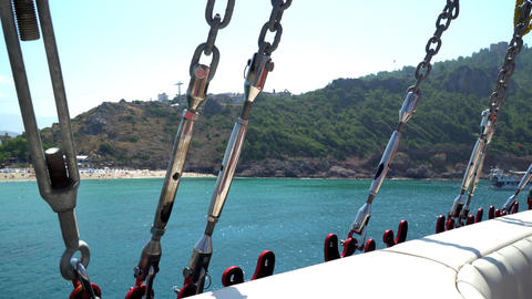 40 degrees Celsius. the view from the ship to the beach Footage