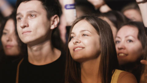 People Take Pleasure in Listening Band Songs at Concert Footage
