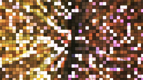 Broadcast Twinkling Hi-Tech Squares, Yellow Brown, Abstract, Loopable, 4K Animation