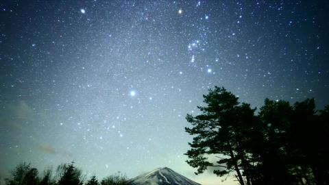 Winter Milkyway above Mt. Fuji Footage