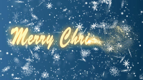 Merry Christmas from snowflakes on a blue background. Christmas and New Year Live Action