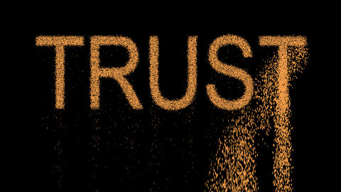 text TRUST appears from the sand, then crumbles. Alpha channel Premultiplied - Animation