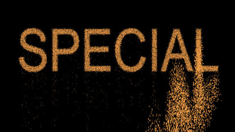 text SPECIAL appears from the sand, then crumbles. Alpha channel Premultiplied - Animation