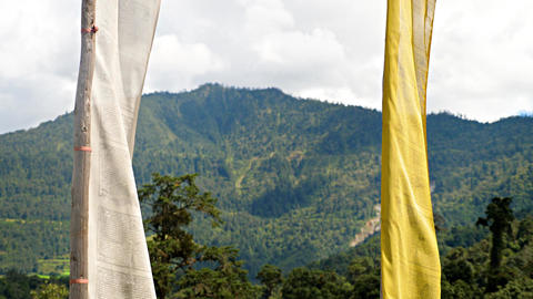 Buddhist Prayer Flags Blowing In The Wind Bild