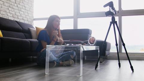 Teenager Recording Vlog Video Blog About Make-up For Social Media Live Action