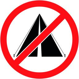 No bivouac, camping prohibited symbol. Vector Vector