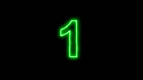 Neon flickering green arabic numerals 1 in the haze. Alpha channel Premultiplied Animation