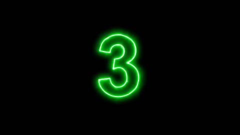 Neon flickering green arabic numerals 3 in the haze. Alpha channel Premultiplied Animation