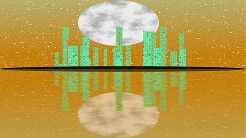 Island with shinning modern town within orange full Moon night. Lighting Filmmaterial
