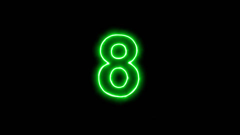 Neon flickering green arabic numerals 8 in the haze. Alpha channel Premultiplied Animation