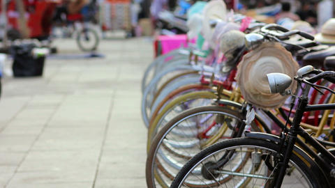 bicycle rental in kota, jakarta Stock Video Footage