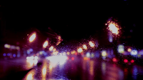 car window rain night background defocused in motion Stock Video Footage