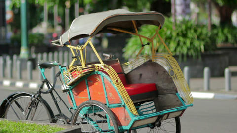 transportation with cyclo in indonesia Stock Video Footage