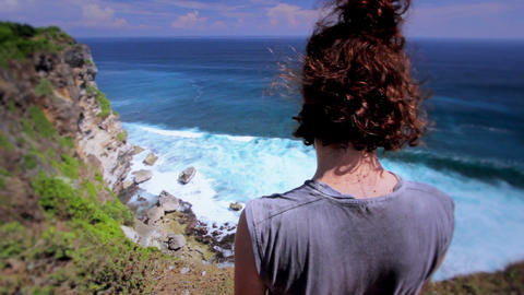 man at the edge of cliff Stock Video Footage