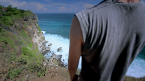 man at the edge, retouched Stock Video Footage
