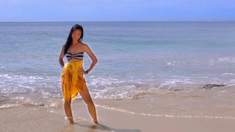Sexy Asian Girl at Exotic Beach Footage