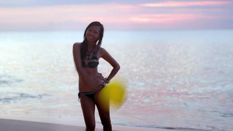seductive naughty girl at beach Stock Video Footage