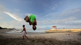 BALI - MAY 2012: parkour at the beach Footage