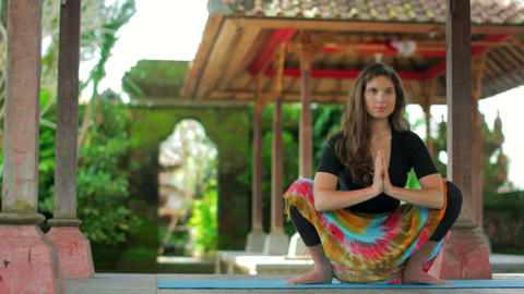 yoga in balinese temple Footage
