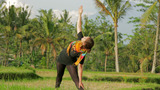 Yoga In Balinese Temple stock footage