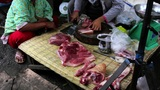 unhygienic meats in asian market Footage