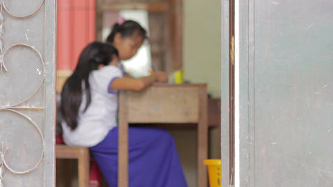 students in NGO orphanage school Stock Video Footage