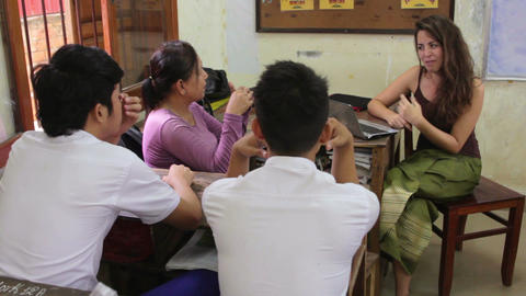PHNOM PENH - JUNE 2012: students in NGO orphanage school Stock Video Footage
