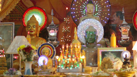 Buddha statues in temple Footage