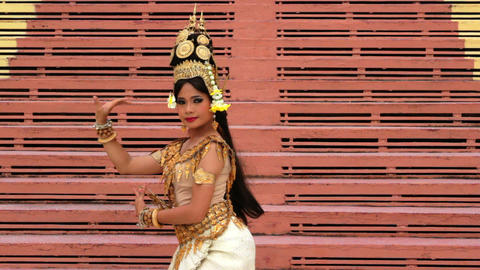 Apsara Dancer Performance in Temple Stock Video Footage