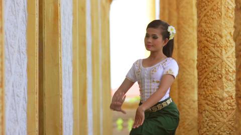 Asian Folk Dance in Temple Stock Video Footage
