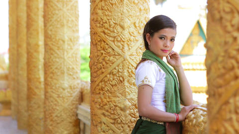 Traditional Dressed Girl in Temple Stock Video Footage