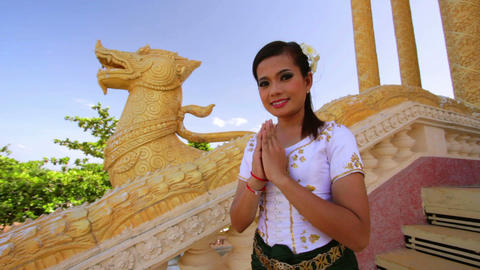 Asian Girl Greeting in Temple Footage