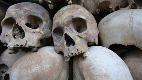 Skulls and bones in Killing field Stock Video Footage