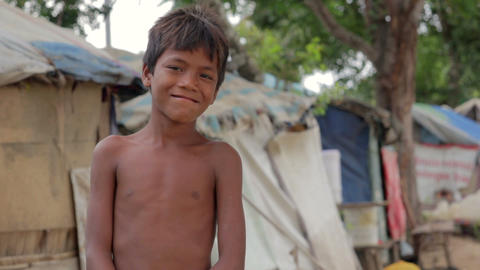 Cambodian boy in slum Stock Video Footage