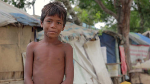 Cambodian boy in slum Footage