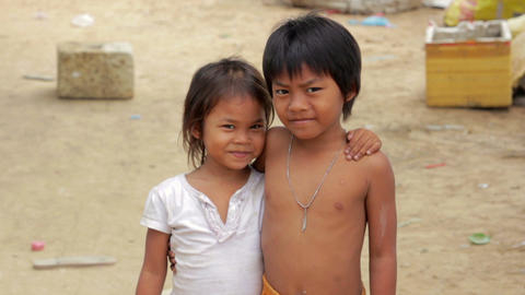 Cambodian kids in slums Footage