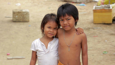 Cambodian kids in slums Stock Video Footage