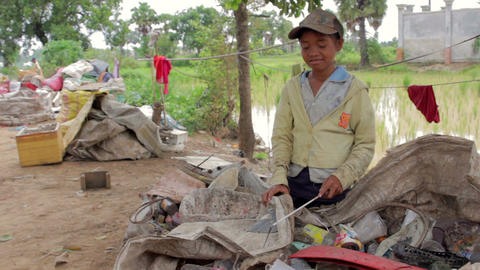 Garbage gatherer childs in cambodia Footage