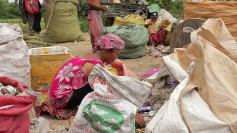 Garbage gatherers in slums Footage