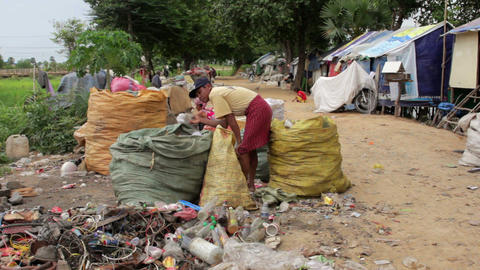 Garbage gatherers in slums Footage