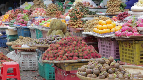 Fresh fruits in asian market Stock Video Footage