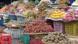 Fresh fruits in asian market Footage