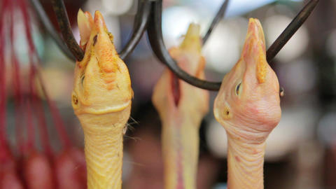 asian market, butcher hang duck Stock Video Footage