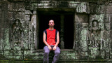 Caucasian Tourist In Angkor Wat stock footage