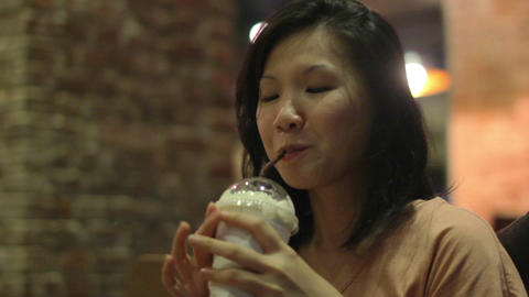 Young Asian Woman at cafe Stock Video Footage