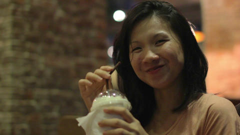Young Asian Woman at cafe Footage