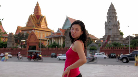 chinese woman posing for photo Stock Video Footage